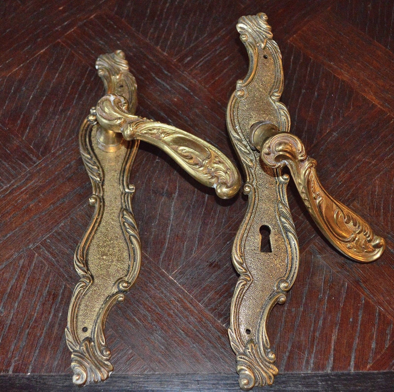 architectural salvage Vintage door handles glass effect and brass backplates