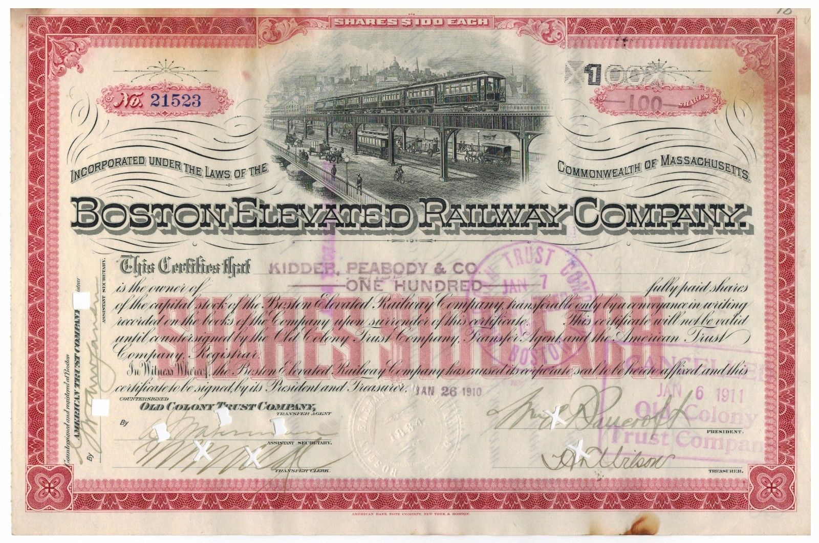 Stocks bonds scripophilyfalstaff beer brewing corporation stock 1911 boston elevated railway co stock certificate shares old colony signature xflitez Gallery
