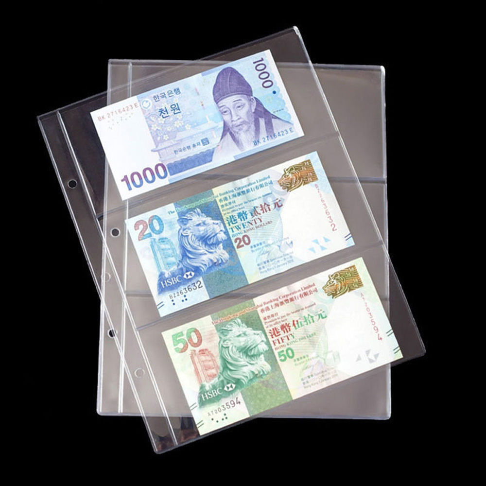 Lots 400 Pcs Currency Sleeves Holders Banknotes Note Paper Money Supplies