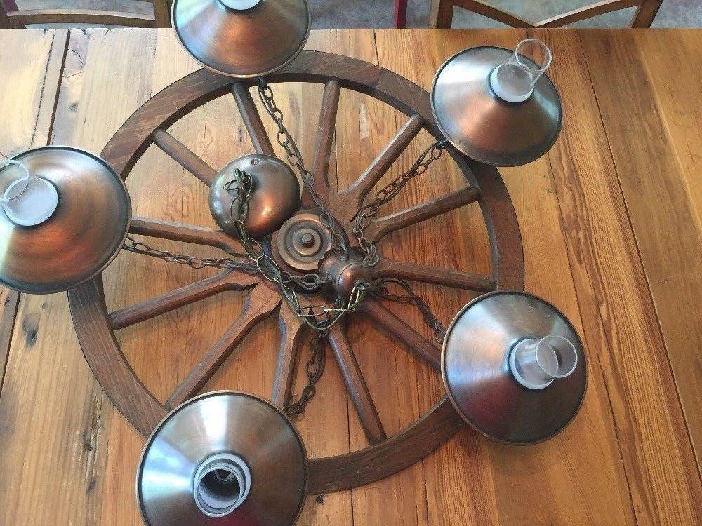 Lamps Lightingvintage 5 Light Wood Wagon Wheel Chandelier 24