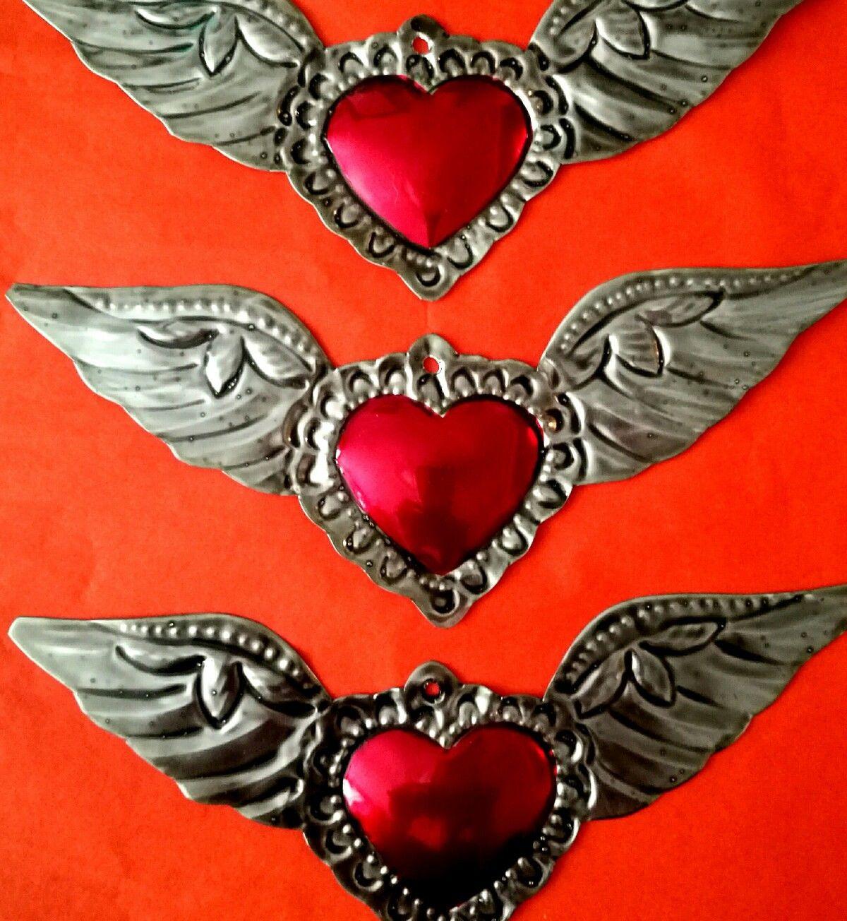 Folk Art Painted Hearts