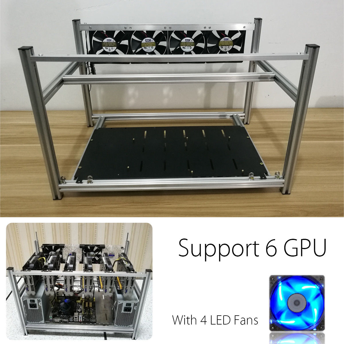 Virtual Currency:12 GPU Aluminum Open Air Mining Stackable Frame Rig