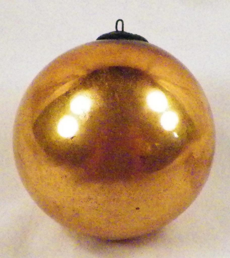 Holiday Seasonal Antique Kugel Christmas Ornament Gold Ball