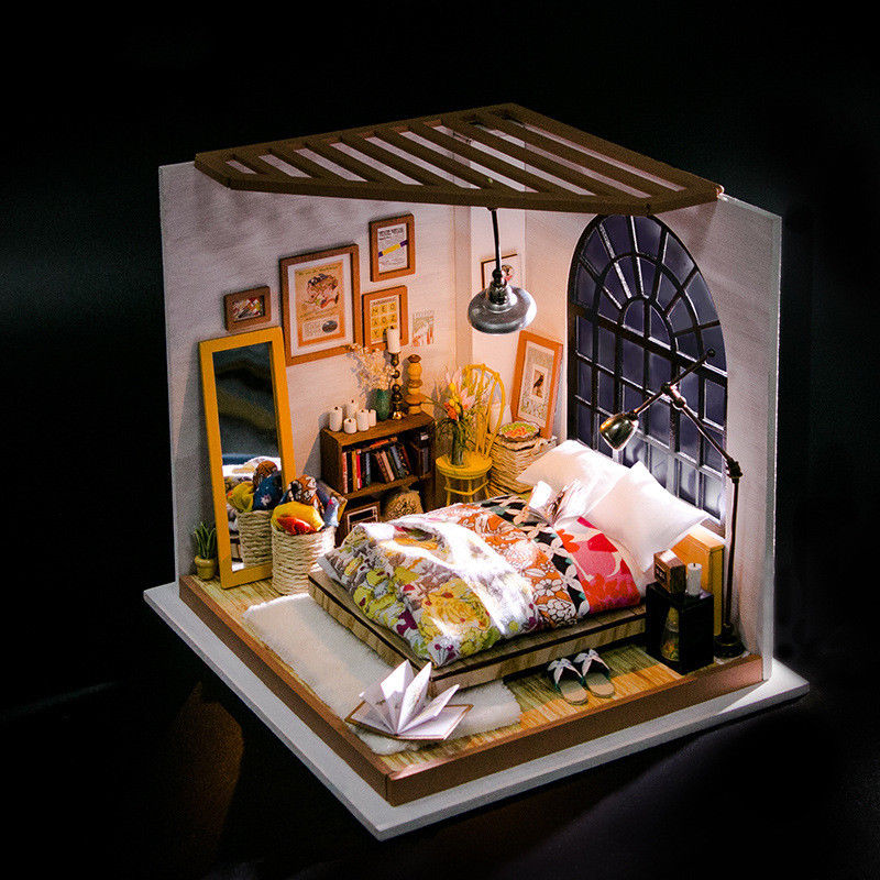 Dollhouse Miniatures:DIY Miniature Doll House Wooden Bedroom ...