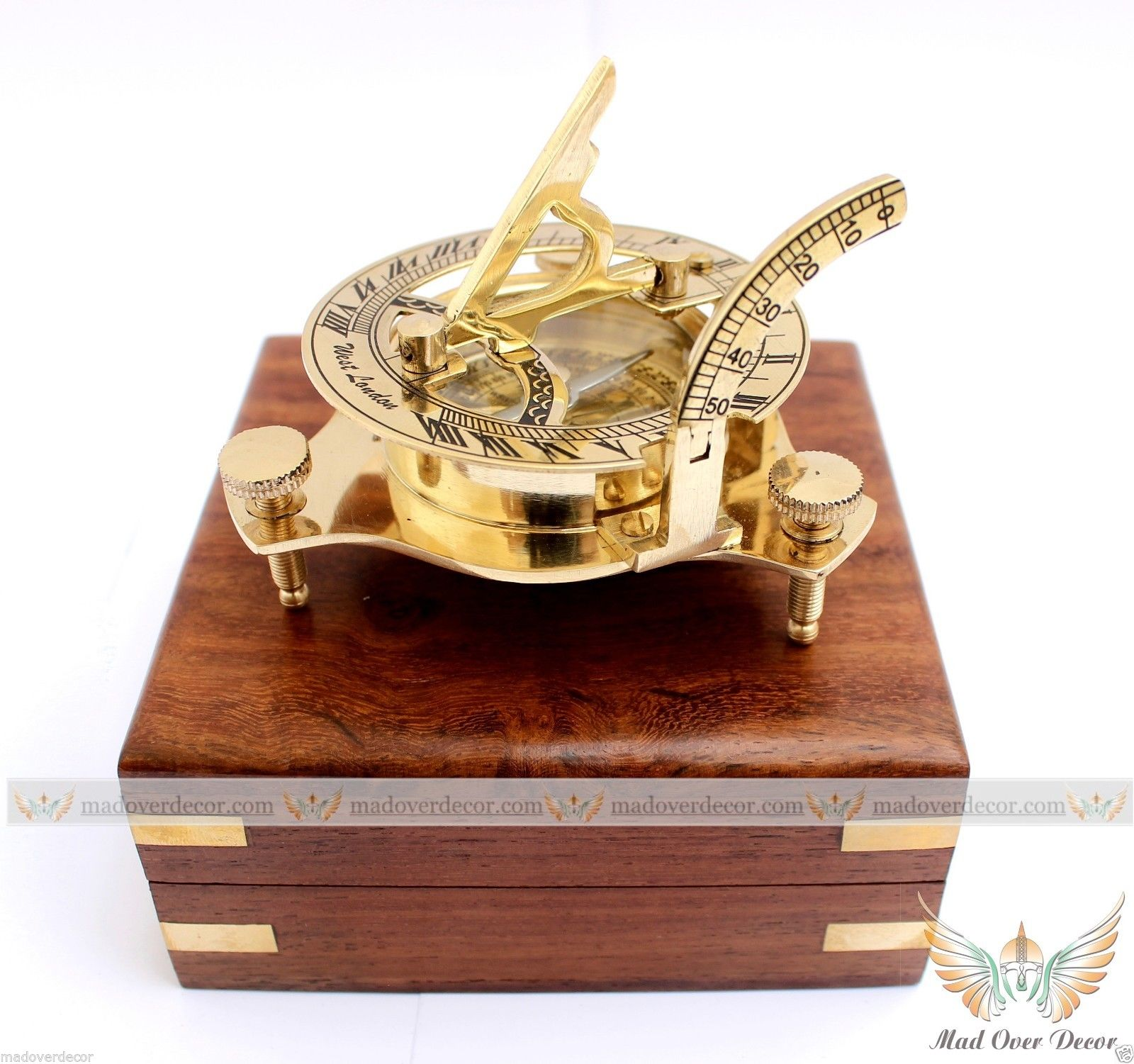 ANTIQUE BRASS ROYAL NAVY VINTAGE SUNDIAL PIRATE NAUTICAL MARITIME DESK DECOR